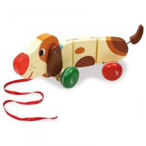 un jouet de no l original pour b b basile le chien tirer en bois cadeau pour no l. Black Bedroom Furniture Sets. Home Design Ideas
